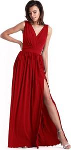 Czerwona sukienka Ivon z dekoltem w kształcie litery v maxi bez rękawów