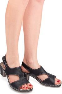 Czarne sandały Sabatina na rzepy w stylu klasycznym ze skóry
