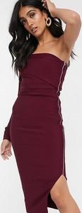 Fioletowa sukienka Asos bandażowa