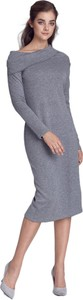 Sukienka Nife prosta z długim rękawem midi