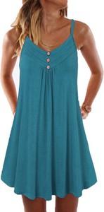 Niebieska sukienka Cikelly z dekoltem w kształcie litery v na ramiączkach mini