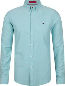 Niebieska koszula Tommy Hilfiger z długim rękawem z bawełny z kołnierzykiem button down