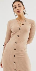 Sukienka NA-KD z długim rękawem z dekoltem w kształcie litery v