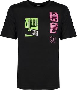 Czarny t-shirt Diesel z bawełny w młodzieżowym stylu z krótkim rękawem