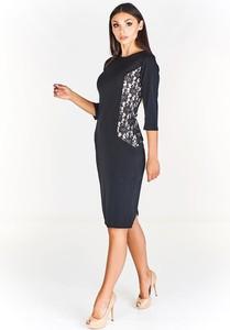 Sukienka Fokus ołówkowa z długim rękawem z okrągłym dekoltem