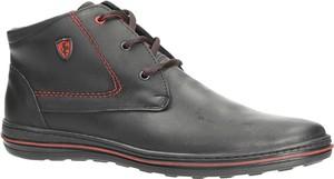 Czarne buty zimowe Casu sznurowane ze skóry