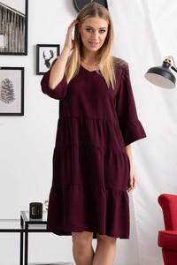 Czerwona sukienka Grandio z długim rękawem