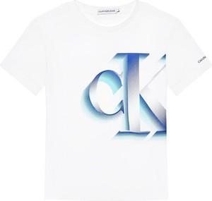 Bluzka dziecięca Calvin Klein dla chłopców z jeansu z krótkim rękawem