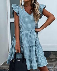 Niebieska sukienka Kendallme z krótkim rękawem z bawełny mini