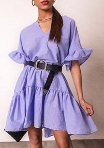 Fioletowa sukienka Latika z długim rękawem mini