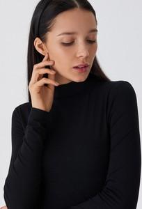 Czarna bluzka House w stylu casual z długim rękawem