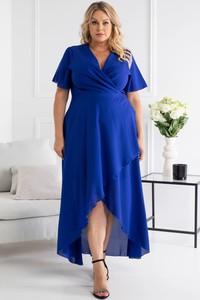 Niebieska sukienka KARKO asymetryczna maxi z krótkim rękawem