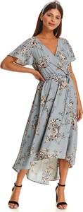 Niebieska sukienka Top Secret z dekoltem w kształcie litery v z długim rękawem