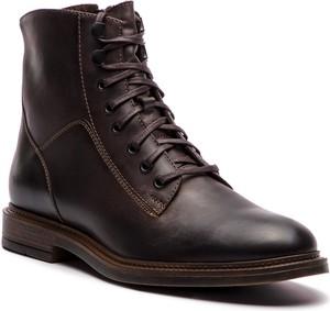 Brązowe buty zimowe Gino Rossi ze skóry w militarnym stylu