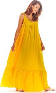 Żółta sukienka Awama z tkaniny maxi
