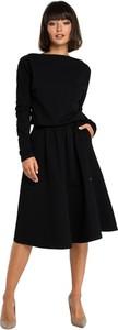 Czarna sukienka Be z dzianiny midi z długim rękawem