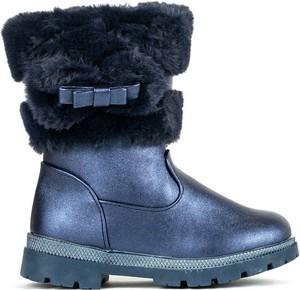 Niebieskie buty dziecięce zimowe Royalfashion.pl na zamek