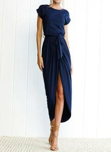 Granatowa sukienka Arilook z krótkim rękawem z dresówki midi