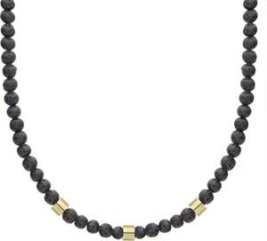 Manoki Naszyjnik lawa wulkaniczna z pozłacanymi elementami beads