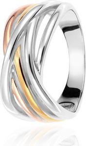 SADVA Pierścionek srebrny trójkolorowy