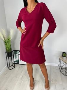 Czerwona sukienka ModnaKiecka.pl mini z długim rękawem trapezowa