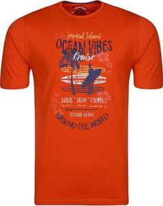 Pomarańczowy t-shirt Redmond z krótkim rękawem w młodzieżowym stylu