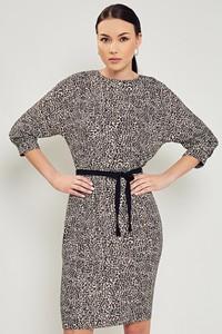 Sukienka Moda Su z długim rękawem z okrągłym dekoltem mini