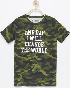 Zielona koszulka dziecięca Reserved z krótkim rękawem
