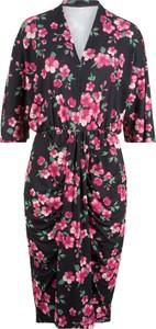 edcf1ed990 Sukienka bonprix bpc bonprix collection z długim rękawem z dekoltem w  kształcie litery v