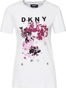 T-shirt DKNY z okrągłym dekoltem w młodzieżowym stylu z nadrukiem