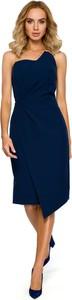 Niebieska sukienka MOE ołówkowa bez rękawów