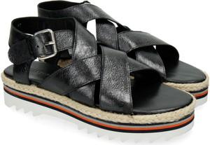 Czarne sandały Melvin & Hamilton z klamrami w stylu casual ze skóry