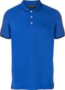 Niebieski t-shirt Emporio Armani w stylu casual