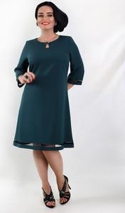 Niebieska sukienka Oscar Fashion midi trapezowa z długim rękawem