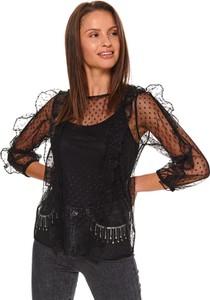 Bluzka Top Secret z okrągłym dekoltem z długim rękawem z tiulu