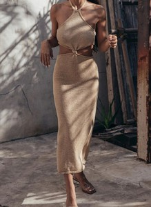 Brązowa sukienka Arilook w stylu boho maxi ołówkowa