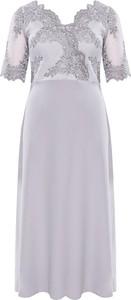 Sukienka modneduzerozmiary.pl z dekoltem w kształcie litery v z długim rękawem z bawełny