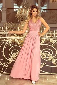Sukienka Ptakmoda.com z dekoltem w kształcie litery v rozkloszowana maxi