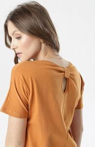 Brązowa bluzka born2be w stylu casual z krótkim rękawem