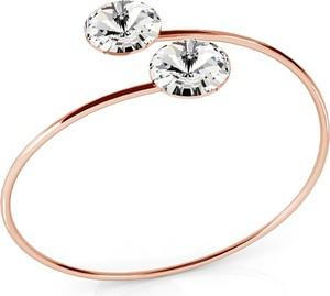 GIORRE SREBRNA WSUWANA BRANSOLETKA SWAROVSKI RIVOLI 925 : Kolor kryształu SWAROVSKI - Crystal, Kolor pokrycia srebra - Pokrycie Różowym 18K Złotem