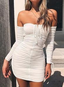 Sukienka Sandbella bodycon z długim rękawem z dekoltem w kształcie litery v