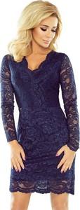 Granatowa sukienka NUMOCO midi dopasowana z dekoltem w kształcie litery v