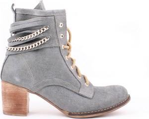 Botki Zapato na obcasie ze skóry sznurowane