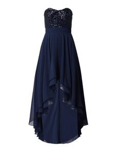 Granatowa sukienka Paradi gorsetowa z szyfonu maxi