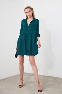 Zielona sukienka Trendyol z długim rękawem koszulowa mini