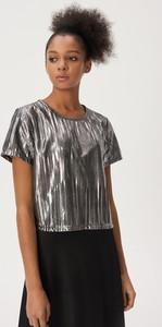 Srebrna bluzka Sinsay w stylu glamour z krótkim rękawem