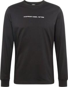 Czarny t-shirt Diesel z bawełny z długim rękawem