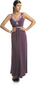 Fioletowa sukienka Fokus z dzianiny rozkloszowana