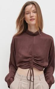 Brązowa bluzka Reserved z satyny z długim rękawem