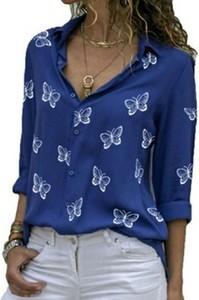 Niebieska bluzka Cikelly z kołnierzykiem